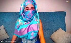 AmiraSerious | CKXGirl™ | Blue Satin Hijab | www.ckxgirl.com