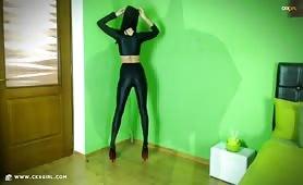 ZeiraMuslim | CKXGirl™ | Black Leggings & Hijab in Heels | www.ckxgirl.com