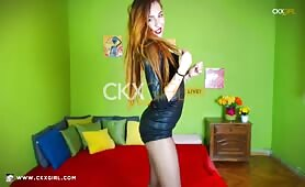 ZeiraMuslim Hair in Pantyhose & Leather Dress @ CKXGirl.com